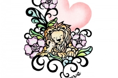 Animal parent and child ライオン Lion size:182×257mm