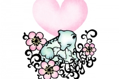 Animal parent and child シロクマ Polar Bear  size:182×257mm