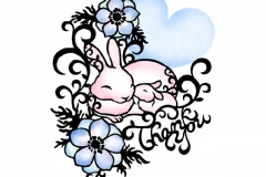 Animal parent and child ウサギ Rabbit  size:182×257mm