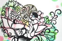 カンムリヅルとハス Camphor&Lotus size:275×366mm